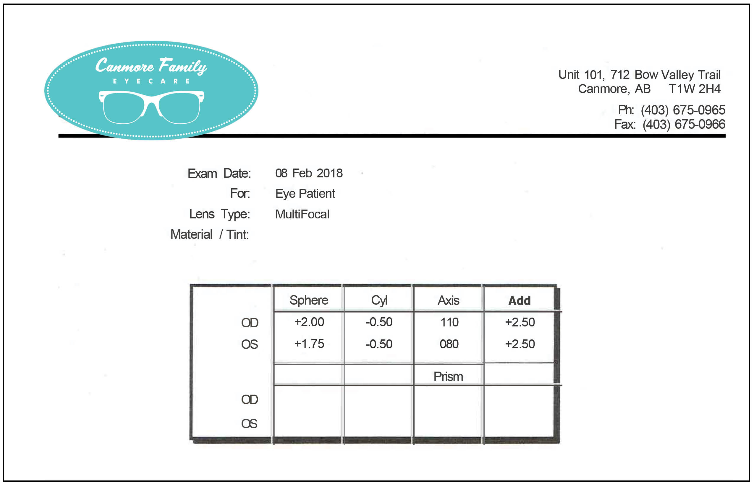multi-focal prescription from Canmore Family Eyecare