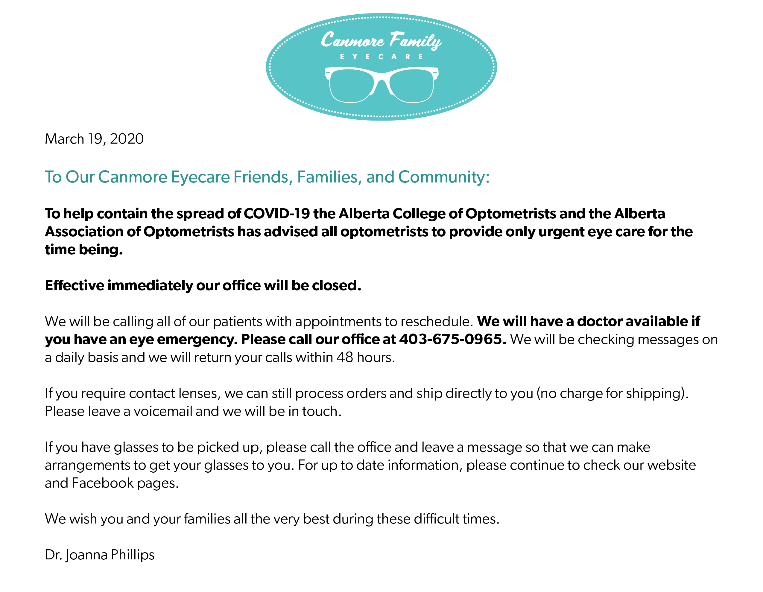 Canmore Family Eyecare COVID-19 update